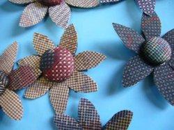 画像2: 大島紬の【花ボタン】2個組